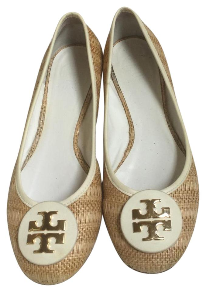 32ca7a03c0a Tory Burch Tan Off White Reva Flats Size US 9 Regular (M