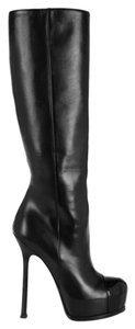 Saint Laurent Ysl Yves Knee High Cap Toe Patent Leather Black Boots