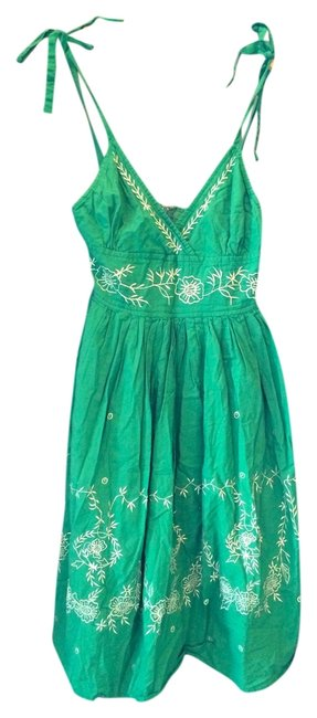 Anthropologie short dress Green Summer Embroidered on Tradesy