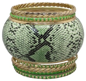 Other Green Multicolor Lizard Snakeskin Print Multilayer Bracelet Bangle