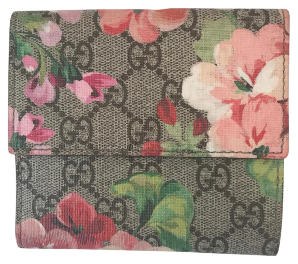 662a1578ca7 Gucci Beige Ebony Gg Supreme Canvas with Blooms Print French Flap ...