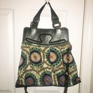 Hoss intropia Tote in green leather handles