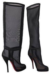 Christian Louboutin Over Knee Ankle Otk Black Boots