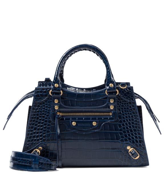 Item - Neo Classic Small Top Handle In Shiny Crocodile Embossed Calfskin Dark Blue Leather Shoulder Bag