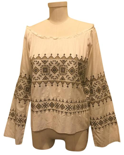 Item - Cream Silk Embroidery Blouse Tunic Size 4 (S)