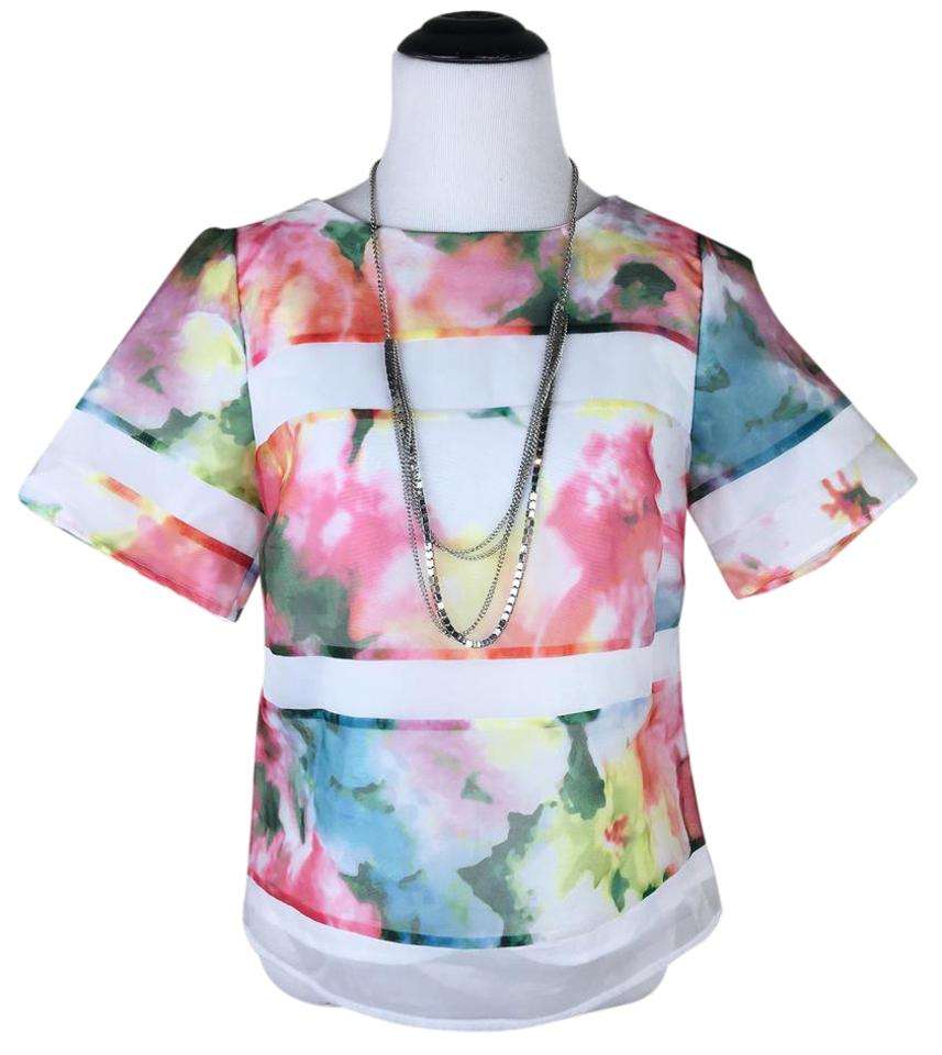 Worthington Pink Blue White Watercolor Floral Dressy Blouse Size 6