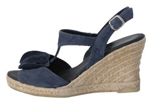 Eric Michael Espadrille Wedge Sandals Navy Wedges