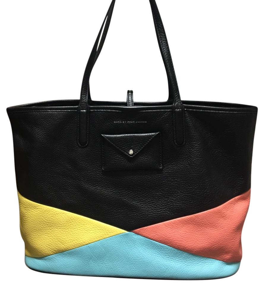 88ef1c8182ee Marc Jacobs Color Blocked By Everyday Large Tote in Black blue pink yellow  ...