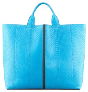 Reed Krakoff Track Track Track Snakeskin Tote in Blue Turquoise