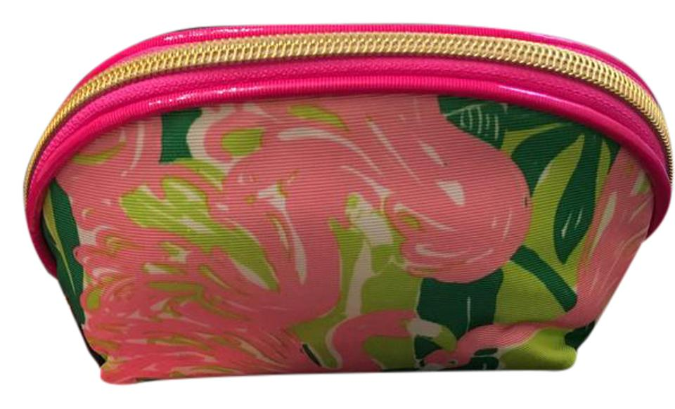 9a021496d588 Lilly Pulitzer for Target Pink Green White Flamingo Print Makeup Cosmetic  Bag
