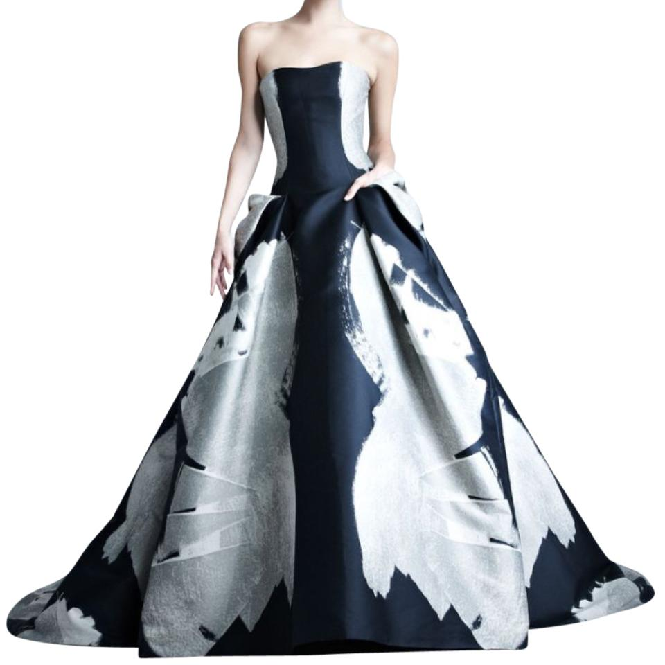 Carolina Herrera Black Brown Bronze Silver Jacquard and Ball Gown ...
