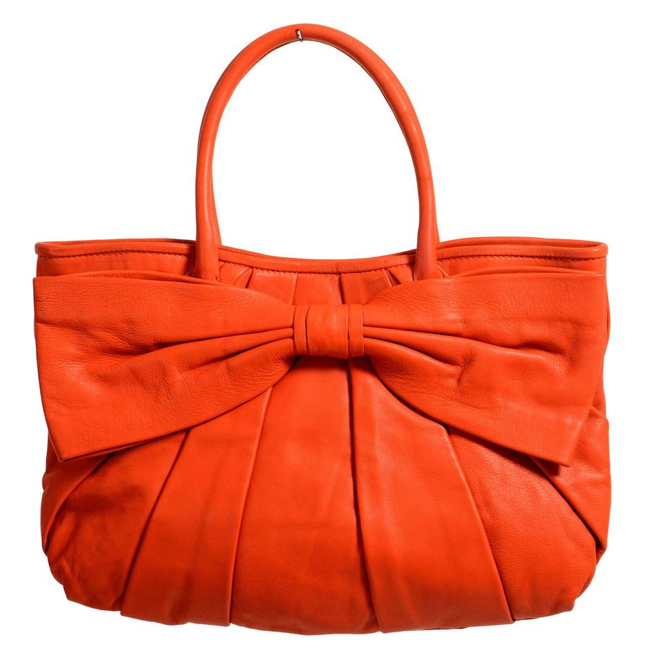 4be557204cb RED Valentino Women's Bow Decorated Tote Orange Leather Shoulder Bag ...