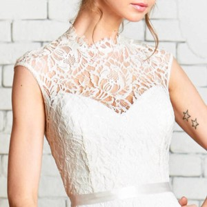 Rebecca Schoneveld Ivory Lace Deya Top Vintage Wedding Dress Size 8 (M)