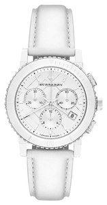 Burberry Burberry City Chronograph White Dial White Leather Unisex Watch BU9701