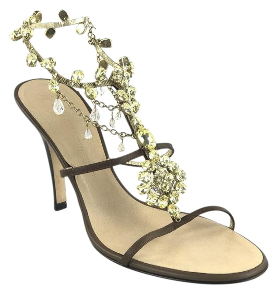 Giuseppe Zanotti Brown Bejeweled Leather Bejeweled Brown T-strap Sandals e68933
