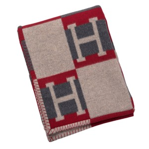 """Hermès Hermes """"Avalon Bayadere"""" Galet and Coquelicot Blanket"""