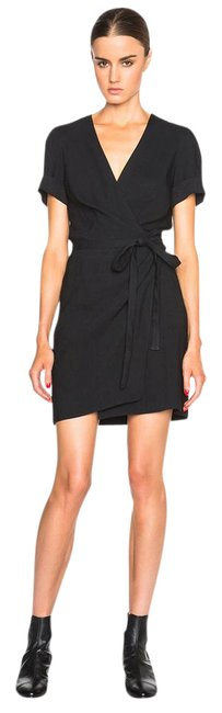 Item - Black Kansas Linen Wrap Short Casual Dress Size 4 (S)
