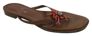 Valentino Thong Sandal Coral Rhinestone Brown Sandals