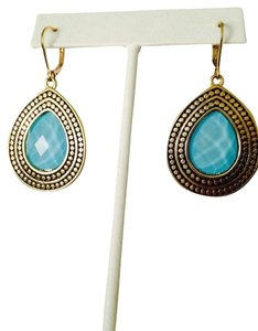 NWOT Faceted Turquoise Crystal Gold-Tone Bali Style Earrings