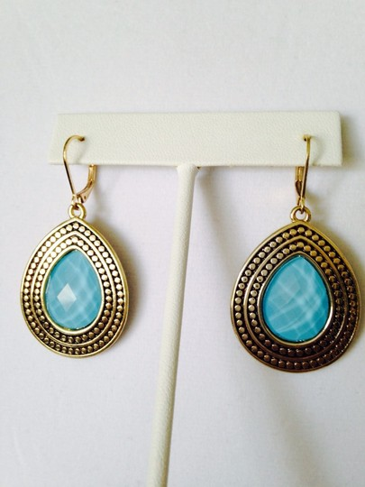 Other NWOT Faceted Turquoise Crystal Gold-Tone Bali Style Earrings