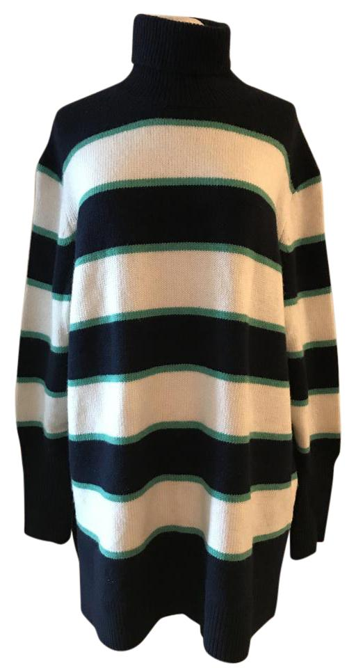 c93a0dcfada093 J.Crew Collection Striped Turtleneck In Wool-cashmere Green Navy ...