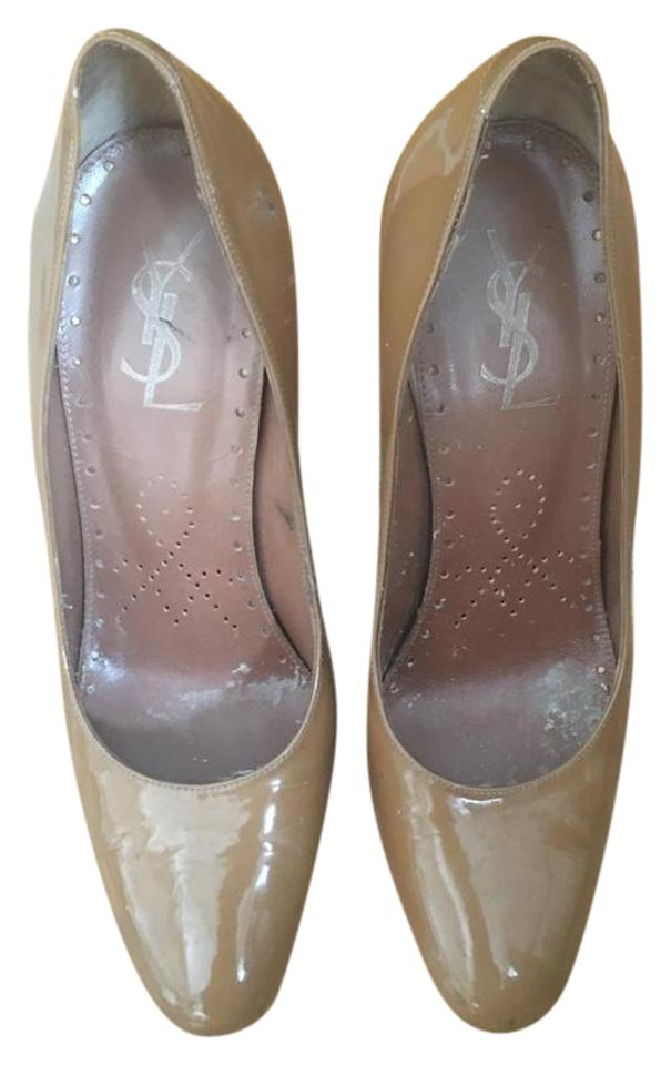 Saint Laurent Nude / Nude/Taupe Taupe Ysl Patent Leather Nude/Taupe / Pumps 7177dd