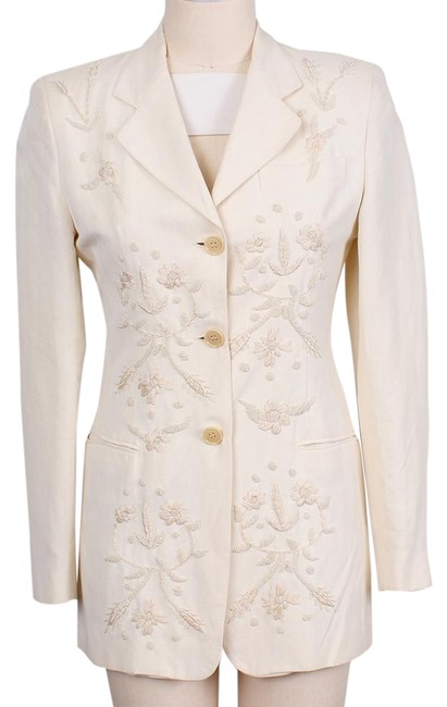 Item - Ivory Vintage Linen Dolce & Gabbana Hand Embroidered/ Beaded Jacket Pant Suit Size 8 (M)