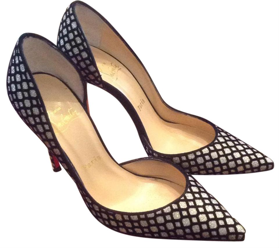 los angeles aff74 21b51 Christian Louboutin Platine/Black Iriza 100 Glitter Floque/Suede Pumps Size  EU 35.5 (Approx. US 5.5) Narrow (Aa, N) 41% off retail