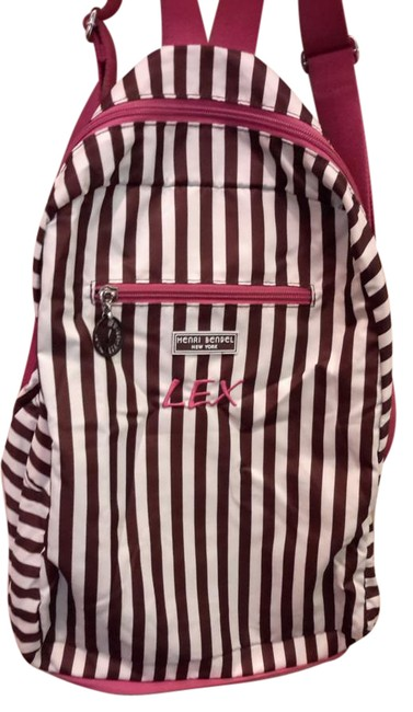 Item - Brown/Pink/White Nylon Backpack