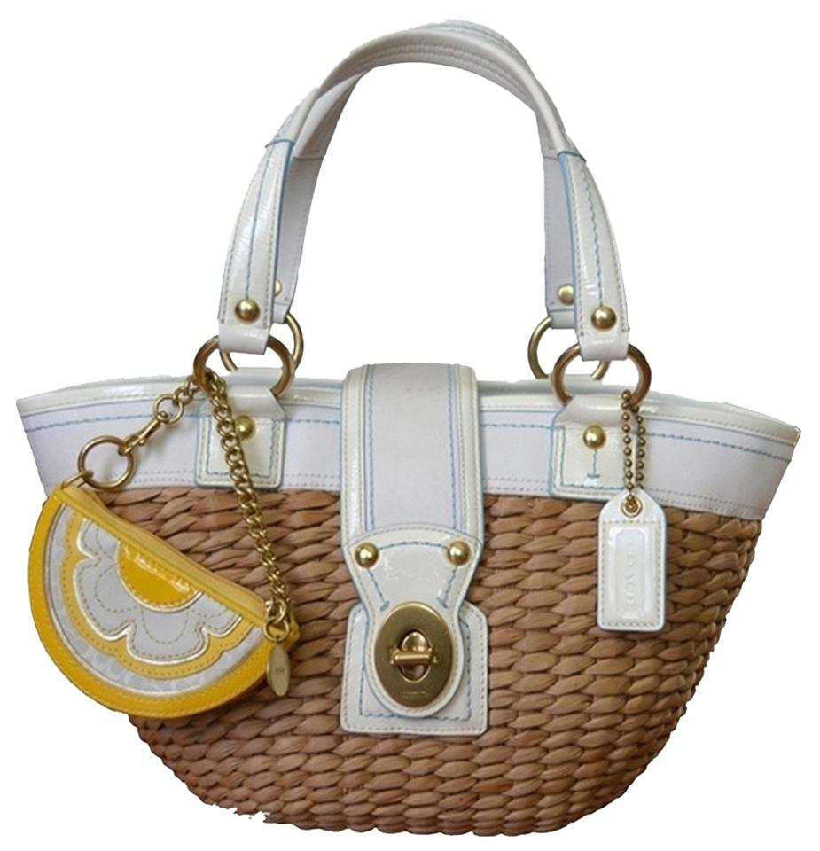 Coach Summer Wicker Straw Lemon Bright Tote in tan white Image 0 ... ac60d319d36a4