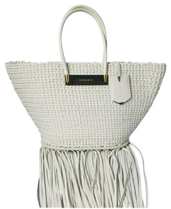 Balenciaga Woven Leather New Fringed Tote in WHITE