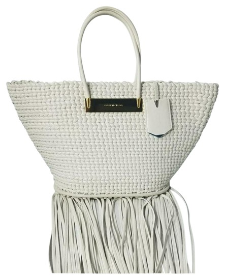 Preload https://img-static.tradesy.com/item/21974403/balenciaga-nwts-msrp-tresse-calf-top-handle-fringed-white-leather-tote-0-5-540-540.jpg
