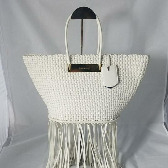 Balenciaga Woven Leather New Fringed Tote in WHITE Image 1