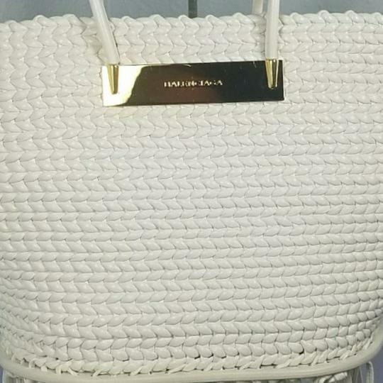 Balenciaga Woven Leather New Fringed Tote in WHITE Image 10