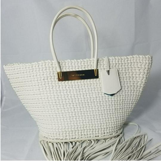 Balenciaga Woven Leather New Fringed Tote in WHITE Image 11
