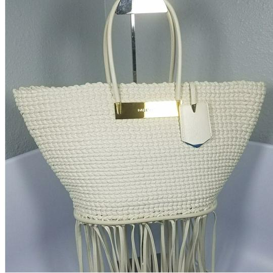 Balenciaga Woven Leather New Fringed Tote in WHITE Image 3