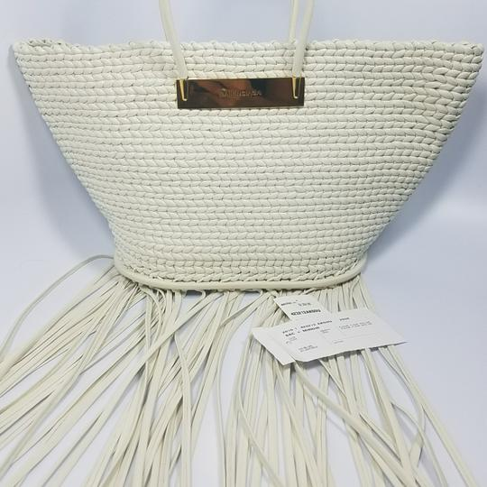 Balenciaga Woven Leather New Fringed Tote in WHITE Image 5
