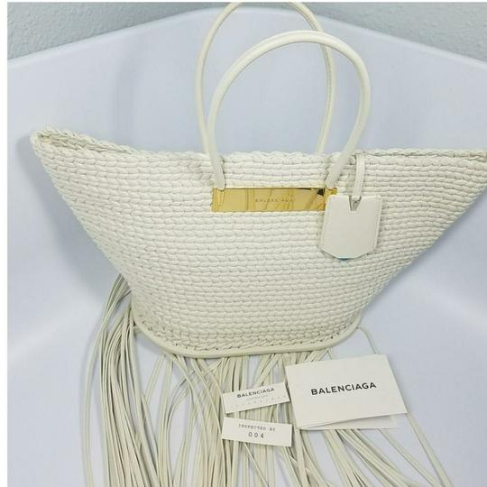Balenciaga Woven Leather New Fringed Tote in WHITE Image 6
