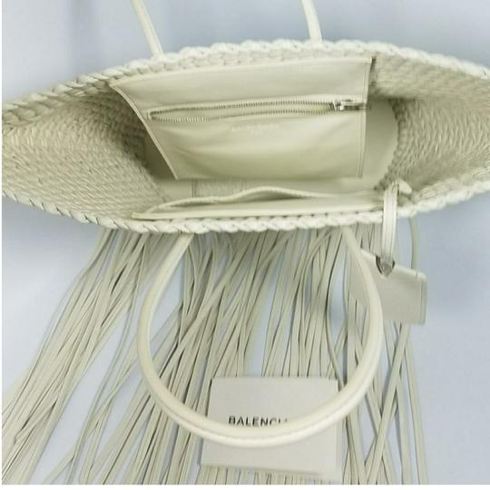 Balenciaga Woven Leather New Fringed Tote in WHITE Image 7