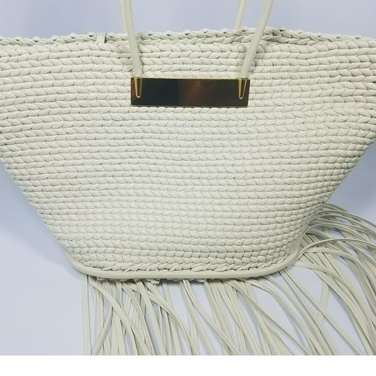 Balenciaga Woven Leather New Fringed Tote in WHITE Image 8