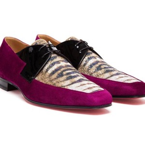 Christian Louboutin Purple/Gold Rare New Orleans Velvet Black Patent Leather and Lurex Lace-up Shoes