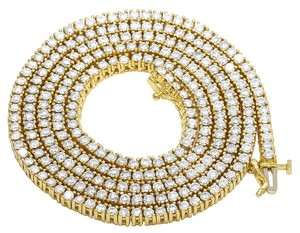Jewelry Unlimited 10K Yellow Gold Diamond 3MM Tennis Solitaire Chain Necklace 13.75 Ct