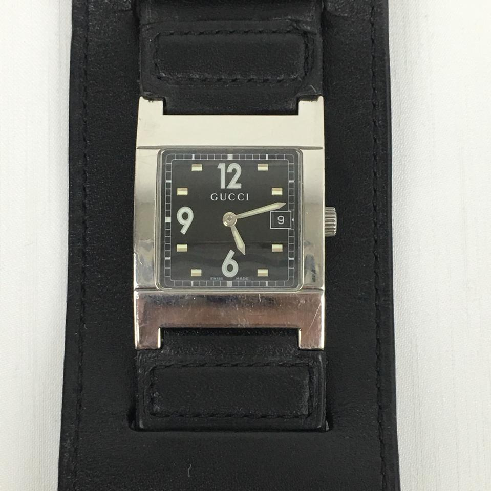 6e89aa66f15 Gucci GUCCI Black Leather Cuff Watch Vintage Steel Square Face Image 10.  1234567891011