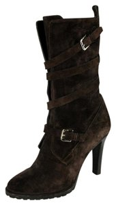 Ralph Lauren Collection Suede Double Buckle Heeled Brown Boots