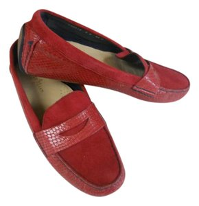 Cole Haan Designer Moccasin Red-snake skin patent leather Flats