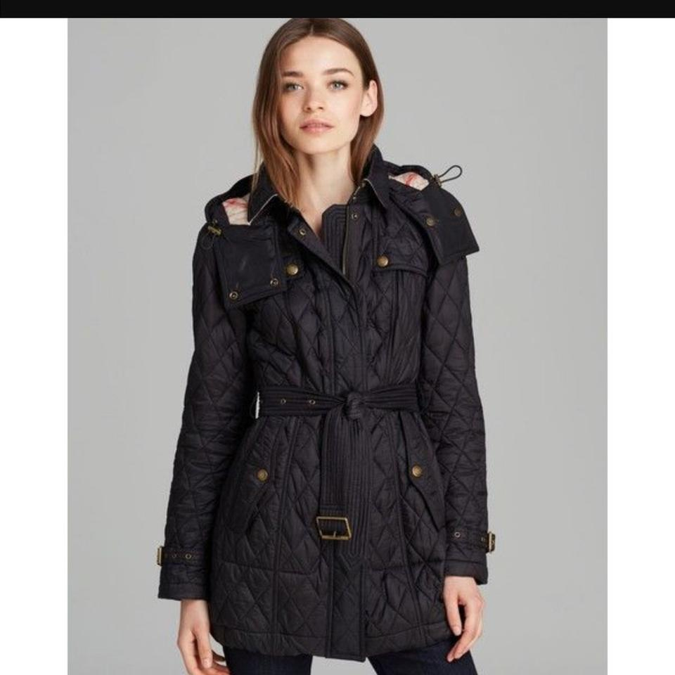 Burberry Black Baughton Quilted Belted Parka Jacket Trench