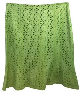 THE WRIGHTS Leather Skirt Apple Green