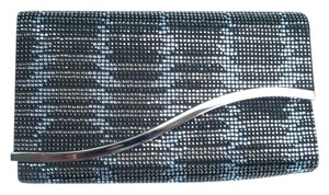 Giorgio Armani Rhinestone Embelished Black Satin Multi Iridescent Clutch