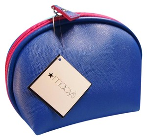 Macy's Macy's Blue and Pink Faux Leather Cosmetics Makeup Bag Case Pouch Sac
