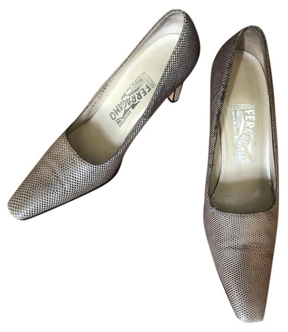 """Item - Textured Brown Leather 3"""" Pumps Size US 8 Narrow (Aa, N)"""